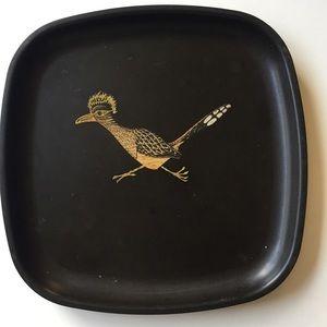 Vintage Couroc tray in black Roadrunner Midcentury